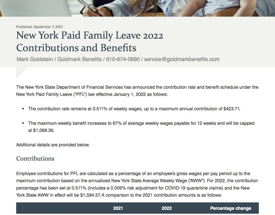 New York Paid Family Leave 2022 Contributions and Bene ts